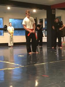 My son Lucas during his green belt test